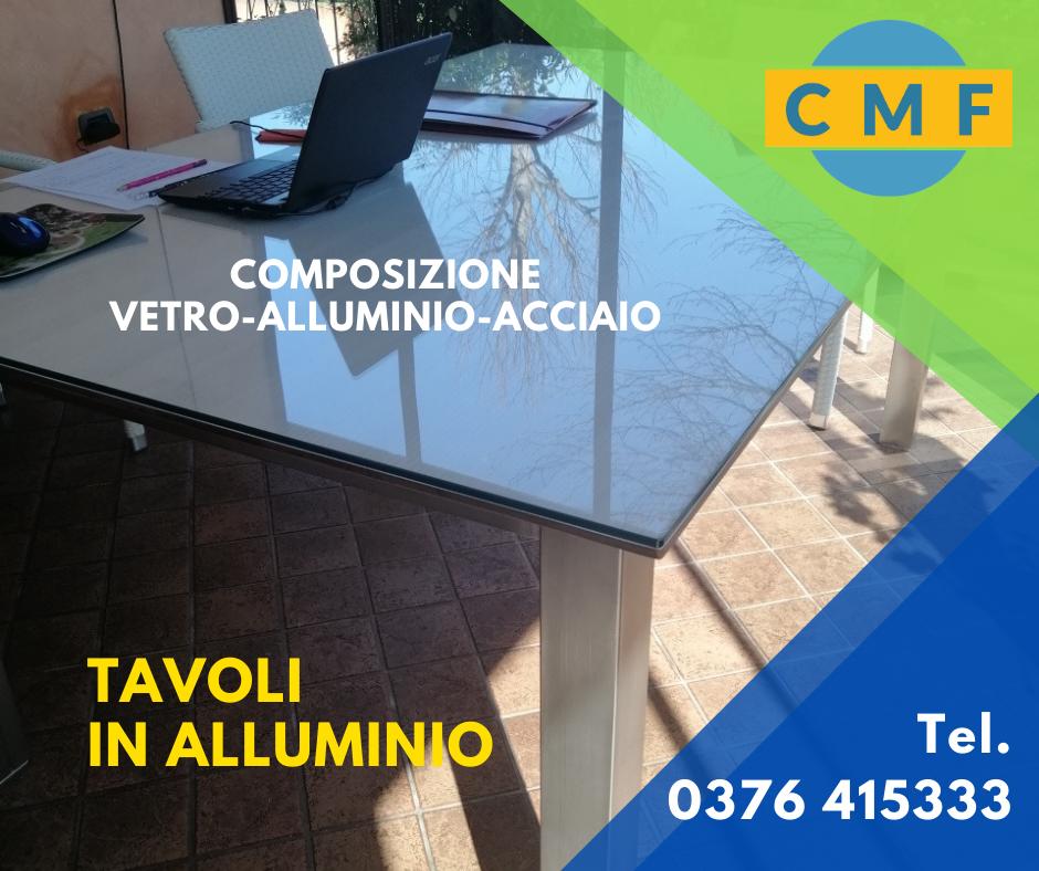 CMF tavolo alluminio con vetro